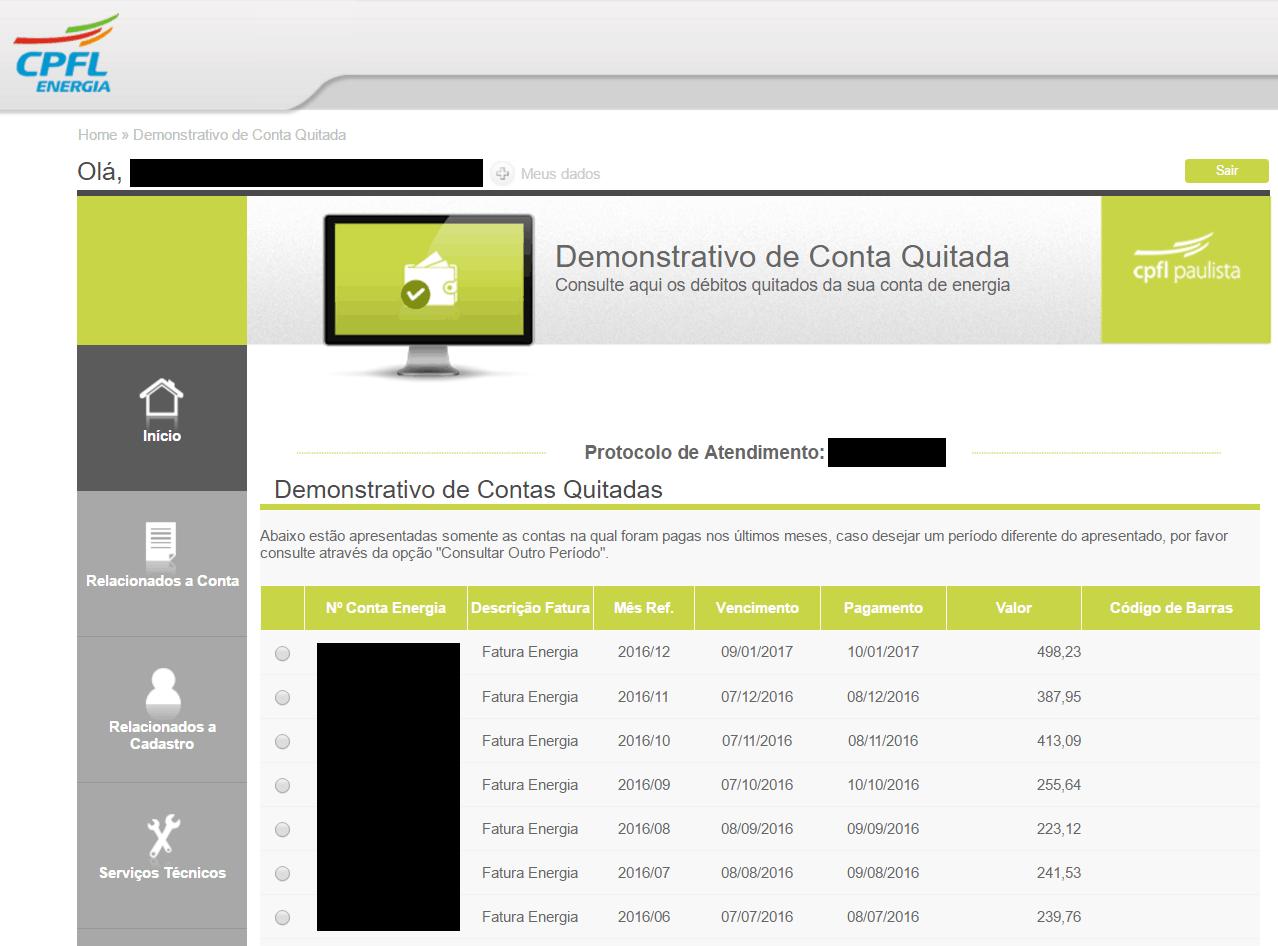Demonstrativos de contas quitadas dos últimos 12 meses