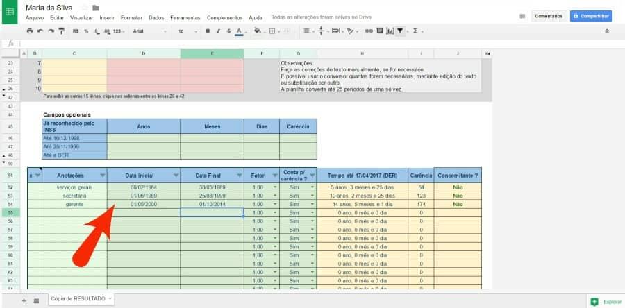 Calcular tempo de contribuição - inserir histórico de trabalho